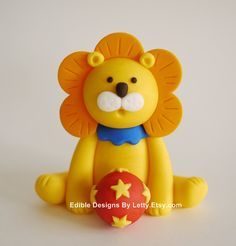 Edible Fondant Cake Toppers - Circus Animal - Lion with stars and baby blocks. $28.00, via Etsy.