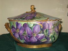 Haviland Limoges Hand Painted Tureen Marseilles Purple Violets Covered Dish | eBay