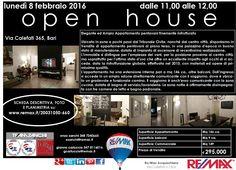 OPEN HOUSE – LUNEDI' 08/02 DALLE 11 ALLE 12 Bari, Via Calefati (altezza Tribunale Civile) Ampio Appartamento pentavani finemente ristrutturato www.remax.it/20031050-660 info 348 7340665