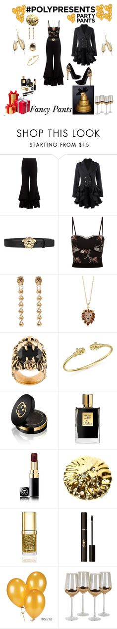 """#PolyPresents: Fancy Pants"" by rebeccadavisblogger on Polyvore featuring Alexis, Versace, La Perla, Natasha, HUE, Gucci, Temple St. Clair, Kilian, Chanel and Comeco"