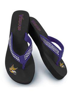 Ladies Rhinestone Vikings Flip Flops