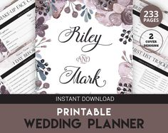 DIY Wedding Planner Printable Wedding by CherryTopPrintables