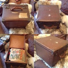 FORTIES Vintage 1943 DOCTORS Suitcase Leather Brass Reinforced Cube Square Shape  | eBay