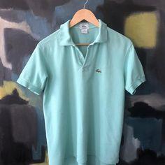 Vintage LACOSTE Polo Shirt 1970s 1980s Seafoam Green PReppy Nantucket  Realness szie M Patron Large 40