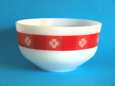 Vintage Federal Glass Red & White Gingham Flower by FunkyKoala