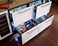 under counter refrigerator drawers the most unique appliances Major Kitchen Appliances, Kitchen Pantry, New Kitchen, Tiny House Appliances, Pantry Room, Awesome Kitchen, Kitchen Refrigerators, Bosch Appliances, Kitchen Cabinets