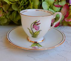 Vintage Royal Stafford Porcelain Demitasse Cup & Saucer Lady Slipper | by Donna's Collectables