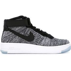 Nike Air Force 1 Ultra Flyknit Sneakers ($173) ❤ liked on Polyvore featuring shoes, sneakers, black, black sneakers, lace up sneakers, nike trainers, black flat sneakers and lace up shoes