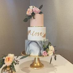 "247 Likes, 26 Comments - Honey Crumb Cake Studio (@honeycrumbcakes) on Instagram: ""For Christina and Blake today: ALL the 2017 cake trends bundled into one. Gold, blush, calligraphy,…"""