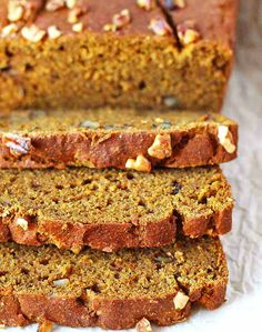 An up close shot of a loaf of Vegan Gluten Free Pumpkin Banana Bread with three slices in front of it. Gluten Free Pumpkin Bread, Pumpkin Banana Bread, Make Banana Bread, Healthy Banana Bread, Banana Bread Recipes, Healthy Pumpkin, Gluten Free Quinoa Salad, Vegan Gluten Free, Paleo