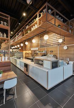A Peek Inside Yummi Coffee Bar in Belgium - Foodielovin' - Coffee Ideas Bakery Design, Cafe Design, Restaurant Interior Design, Shop Interior Design, Cafe Bar, Bar Counter Design, Coffee Bar Design, Cafe Counter, Café Restaurant