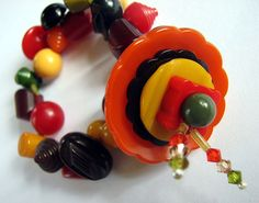 A different view of the chunky Bakelite by lorimarsha, bakelit bracelet, bracelets, chunki bakelit, buttons, beads, bakelit beauti, bakelit bangl, bakelit button, button jewelri