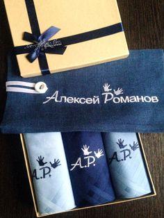 Купить Носовые платочки мужские Люкс с вышивкой и мешочек из бархата - вышивка, Машинная вышивка
