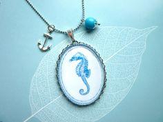 ⚓ Ahoi! Seepferdchen Glas Anhänger an Kette
