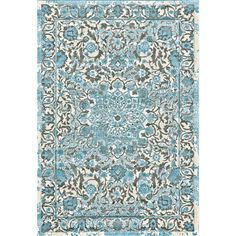 Set a simple foundation for your den seating group or dining room ensemble with this eye-catching area rug, featuring a floral ikat motif in ivory and light blue hues.