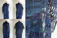 Handwoven navy blue scarf summer stole OOAK by rRradionica on Etsy