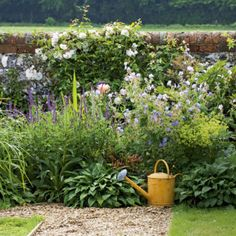 English garden, wall and flowers Small Flower Gardens, Flowers Garden, English Country Gardens, Welsh Country, Garden Cottage, Garden Homes, Garden Borders, Flower Borders, Garden Pictures