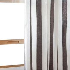 Gray and White Striped Ring Curtain