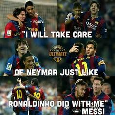 Ronaldinho, Messi and Neymar Football Troll, Football Fever, Football Is Life, Lionel Messi, Messi Vs Ronaldo, Fc Barcelona, Barcelona Soccer, Fifa, Funny Soccer Memes