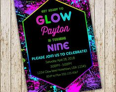 Check out our glow party invitation selection for the very best in unique or custom, handmade pieces from our shops. Birthday Party Invitations Free, Custom Invitations, Birthday Parties, Glow Party, Printed Materials, Slime, Rsvp, Card Stock, Messages