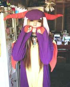 Leda Muir in a spyro costume/pajamas? #half #blonde #half #brown #hair