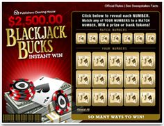 Scratch Off Game $2,500.00 Blackjack Bucks