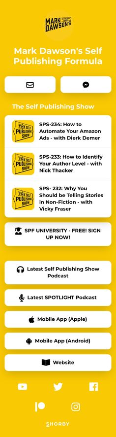 ✏️Learn how to #selfpublish  📚Find your #readers 📖 #Publish your books 🎙 #podcasts ⬇️⬇️ 💲Sell more #books  Self Publishing Show Authors, Writers, Amazon Shows, Book Writer, Telling Stories, Self Publishing, Nonfiction, Landing, Books