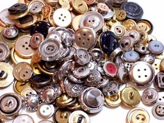 Mixed Metal Buttons, New Old Stock Garment Buttons, 200 pieces, Button Lot # 5