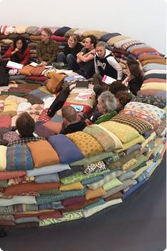 A pillow pit! what a great idea for a game room or tv room or the kids play room! Kids would love this