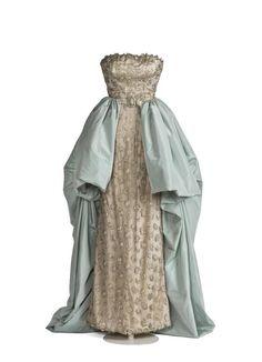 Evening Dress, Cristóbal Balenciaga: ca. 1951, embroidery, satin, chiffon. Search for CE104816.
