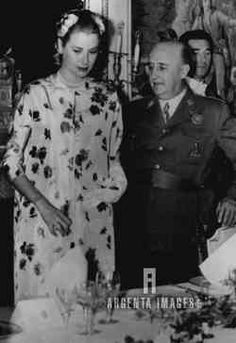Generalissimo Escorts Princess Grace Madrid, Spain... Generalissimo Francisco Franco, Spain's chief of state, is seating Princess Grace (Nee Kelly) as she and her husband, Prince Rainier of Monaco (out of the picture) wee luncheon guests of the Generalissimo and Mme. Franco at the Pardo Palace in Madrid. The most publicized newlyweds of the decade are still honeymooning.
