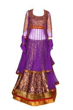 Purple sheer anarkali with a lehenga