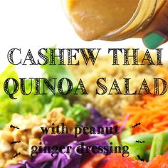 This Cashew Thai Quinoa Salad is a colourful, crunchy vegan meal perfect for a light lunch or dinner! It's loaded with Thai inspired ingredients and dressed with a divine peanut ginger sauce! Best Recipes on Cooking Quinoa in a Crock Pot Asian Quinoa Salad, Quinoa Salad Recipes, Vegan Vegetarian, Vegetarian Recipes, Healthy Recipes, Thai Vegan, Tempeh, Ensalada Thai, Salad Recipes Video
