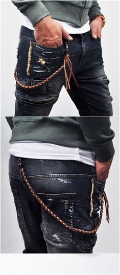 Leather wallet chain.