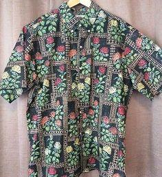 Reyn Spooner Eddy Y XL Hawaiian Shirt Reverse Floral Ohia Lehua Tapa Border