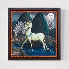 """Canvas painting, """"Behold the Unicorn"""", 40x40 cm, wooden frame Acrylic Painting Techniques, Acrylic Painting Canvas, Painting On Wood, Canvas Paintings, Rusalka, Acrylic Frames, Free Sign, Wooden Frames, Beast"""
