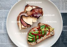 The Best Grilled Cheese Sandwiches You'll Ever Have by Kate from Wit & Delight from A Cup of Joe Blog.  Savory Grilled Cheese:  Sourdough Bread, Bacon, Avocado, Hot Sauce (Siracha), White Cheddar Cheese, Unsalted Butter.