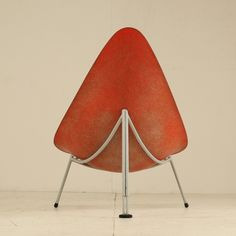 Early French fiberglass easy chair in red by Merat, France, 1956 2