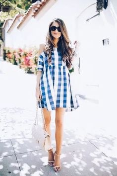 July outfit - gingham dress 2019 - and white summer dress casual blue casual dress summer blue summer dress casual casual blue dress - blue dress casual - Summer Blue Dresses 2019 Fashion Moda, Look Fashion, Womens Fashion, Fashion Trends, Trending Fashion, Feminine Fashion, Fashion Black, Fashion 2018, Dress Fashion