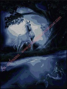 Gráficos a punto de cruz -Unicornio observando a la sirena 54 x 72 cm Batman, Superhero, Movies, Movie Posters, Fictional Characters, Art, Knitwear, Characters, Mermaids