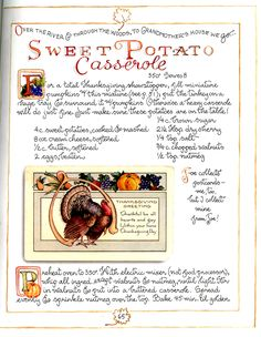 Sweet Potato Casserole - Autumn - Recipe and artwork by Susan Branch