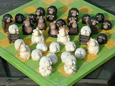 Fantastic Black Versus White Sheep Chess Set Pieces Collectable No Board | eBay