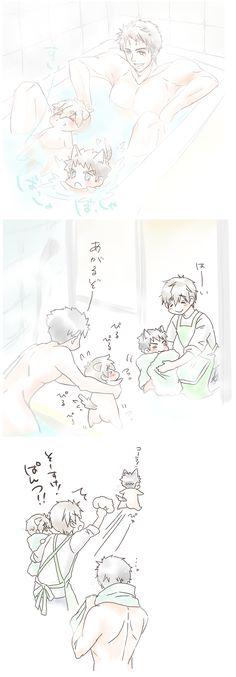 Bath ... From 4_ne_ 8 ... Free! - Iwatobi Swim Club, free!, iwatobi, makoto tachibana, makoto, tachibana, sousuke, sousuke yamazaki, yamazaki, dog, puppy