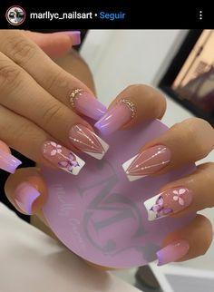 Long Square Acrylic Nails, White Acrylic Nails, Best Acrylic Nails, Cute Acrylic Nail Designs, Colorful Nail Designs, Asian Nails, Nail Art Designs Videos, Gold Glitter Nails, Gel Nails