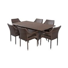 Patio Dining Set: Christopher Knight Home Sinclair 7-piece Wicker... ($1,000) ❤ liked on Polyvore featuring home, outdoors, patio furniture, outdoor patio sets, brown, christopher knight home, wicker garden furniture, 7 piece outdoor patio set and outdoor garden furniture