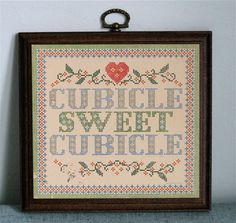 Cubicle Sweet Cubicle Needlepoint Style Plaque