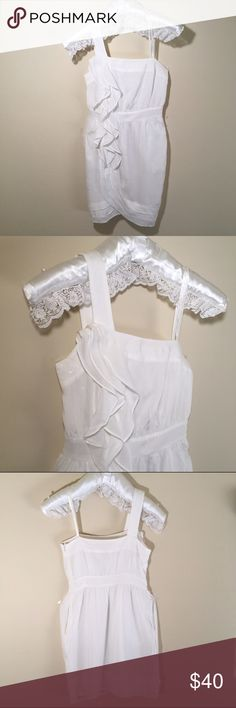"""BCBG One Shoulder Ruffled White Dress 2 A Flattering White One Shoulder Dress. Get ready for the compliments. It features two side pockets. Satin made of rayon, and lining of polyester. Bust measures 16"""", waist 13"""", hips 20"""" and total lenght is 33"""". Pre-loved in good condition. Well taken care as BCBG instructions. All others accesories for styling purposes only and not for sale. BCBGeneration Dresses One Shoulder"""