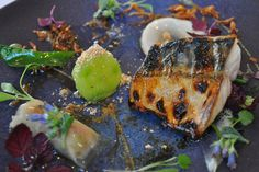 Flame grilled mackerel with cucumber, Celtic mustard and Shiso @ The Ledbury