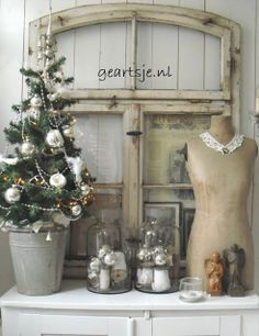 Smal Christmas Tree in Bucket with Dressform and old Window