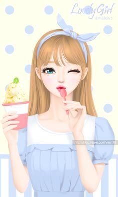 Enakei, girl, and art image Korean Illustration, Illustration Girl, Rose Girl, Lovely Girl Image, Cute Cartoon Girl, Korean Art, Korean Anime, Cute Girl Wallpaper, Girls In Love